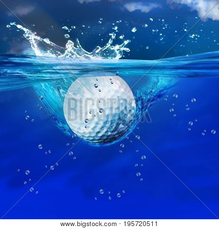 Golf ball splashes into water with room for your type..