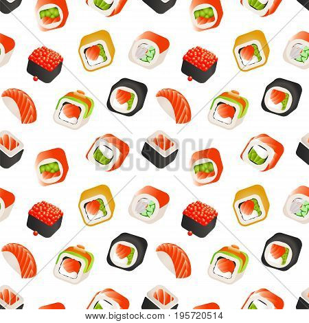Sushi and rolls seamless pattern, Japanese food vector colorful backround illustration. Wrapping template