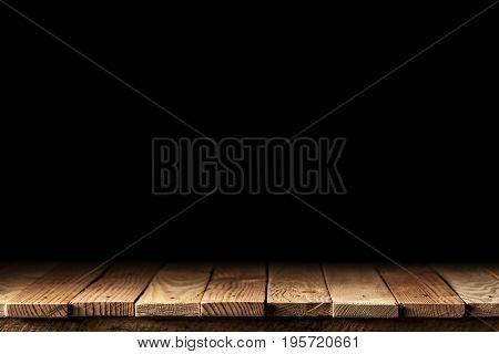 wood plank on dark background