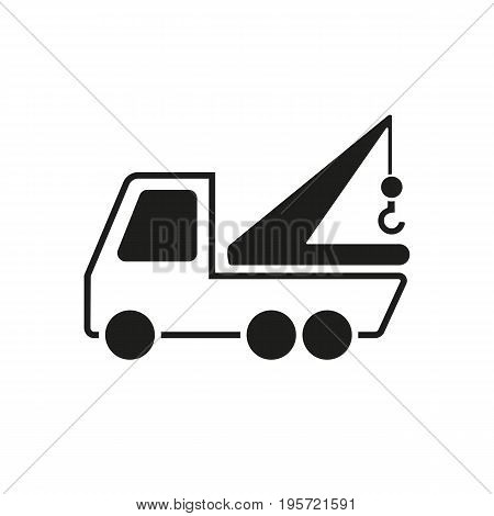 Simple icon of manipulator. Tow truck, illegal parking, accident. Auto concept. Can be used for topics like transportation, service, vehicle