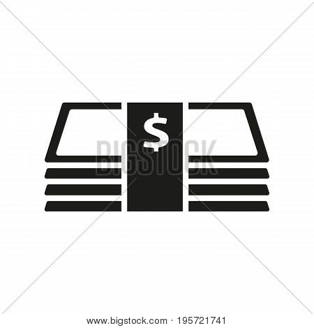 Simple icon of money bundle with dollar sign. Salary, wages, cash register. Money concept. Can be used for topics like finance, banking, business