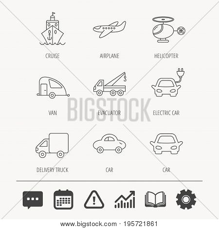 Transportation icons. Car, ship and truck linear signs. Airplane, helicopter and evacuator flat line icons. Education book, Graph chart and Chat signs. Attention, Calendar and Cogwheel web icons