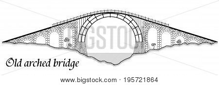 Old Arched Bridge Made Of Stone And Steel. Silhouette Of A Tall Structure Over A River. A Black Grap