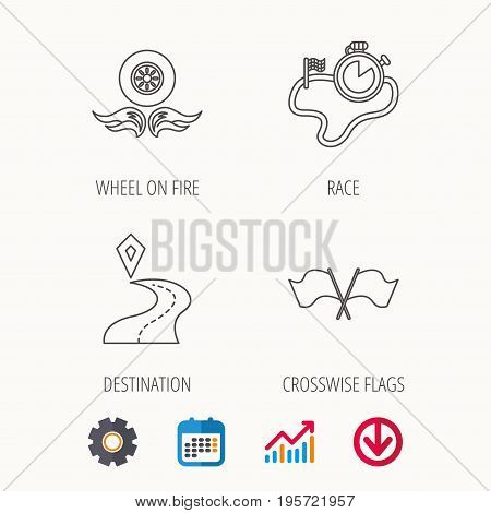Race flags, timer and destination pointer icons. Wheel on fire linear sign. Calendar, Graph chart and Cogwheel signs. Download colored web icon. Vector