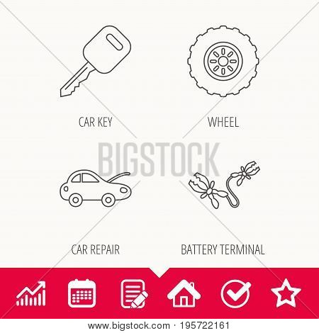 Car key, wheel and repair service icons. Battery terminal linear sign. Edit document, Calendar and Graph chart signs. Star, Check and House web icons. Vector