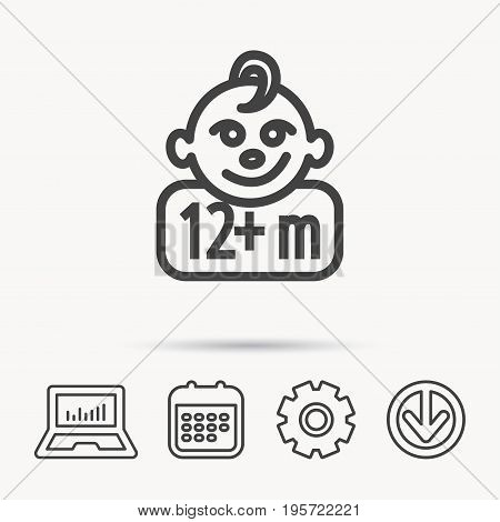 Baby face icon. Newborn child sign. Use of twelve months and plus symbol. Notebook, Calendar and Cogwheel signs. Download arrow web icon. Vector