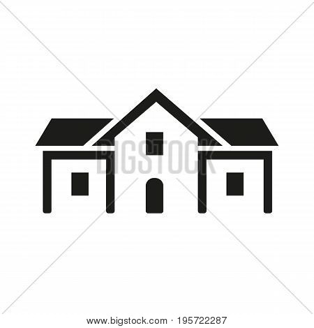 Simple icon of school building. House, mansion, real, estate. School concept. Can be used for topics like construction, housing development, business