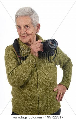 Portrait Of A Senior Woman With Slr Camera