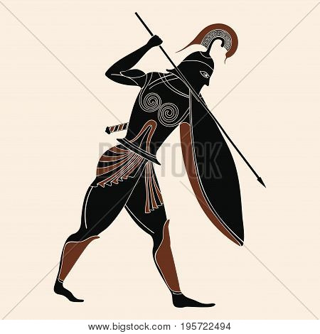Vector illustration in ancient Greek style. Warrior Greek in armor with a spear in his hands.
