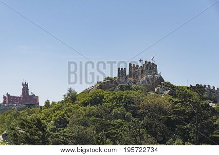 View of the Moorish Castle and the Pena Palace in Sintra Portugal