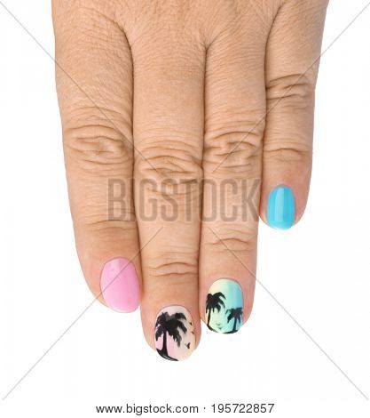 Finger nail with pattern - fashion background