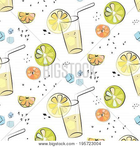 Vector juicy fresh lemon, orange, grapefruit pattern. Lemonade in glass print with citrus Summer natural cocktail with fruit slices. Homemade vegetarian vitamin liquid