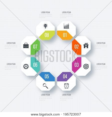 Vector octagon elements for infographic. Template for diagram, graph, presentation and chart. Business concept with 8 options