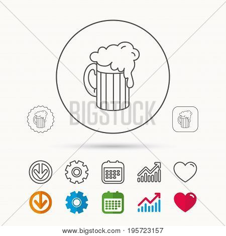Beer icon. Glass of alcohol drink sign. Brewery symbol. Calendar, Graph chart and Cogwheel signs. Download and Heart love linear web icons. Vector