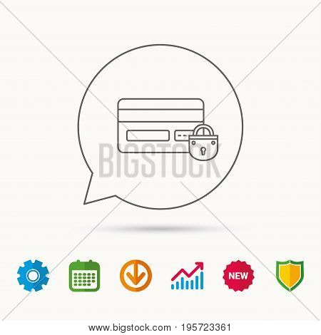 Blocked credit card icon. Shopping sign. Calendar, Graph chart and Cogwheel signs. Download and Shield web icons. Vector