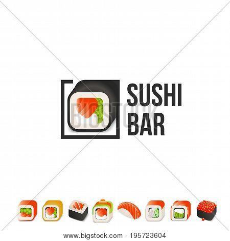 Sushi and roll vector logo template. Japanese oriental kitchen delicacy logotype. Minimal menu design, black border