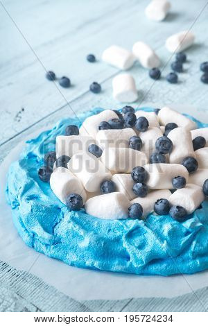 Meringue With Marshmallows And Fresh Blueberries