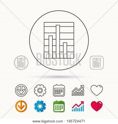 Chart icon. Graph diagram sign. Demand reduction symbol. Calendar, Graph chart and Cogwheel signs. Download and Heart love linear web icons. Vector