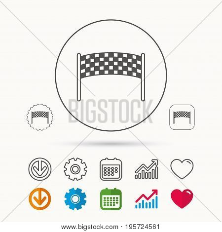 Finishing checkpoint icon. Marathon banner sign. Calendar, Graph chart and Cogwheel signs. Download and Heart love linear web icons. Vector