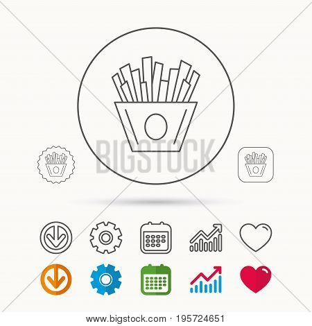 Chips icon. Fries fast food sign. Fried potatoes symbol. Calendar, Graph chart and Cogwheel signs. Download and Heart love linear web icons. Vector