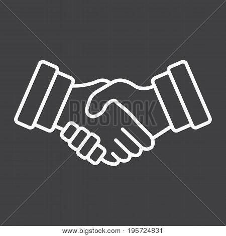 Business handshake line icon, contract and agreement, vector graphics, a linear pattern on a black background, eps 10.