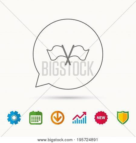 Crosswise waving flag icon. Location pointer sign. Calendar, Graph chart and Cogwheel signs. Download and Shield web icons. Vector