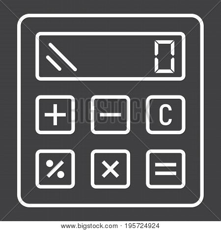 Calculate line icon, business and calculator, vector graphics, a linear pattern on a black background, eps 10.