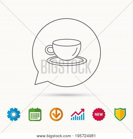 Coffee cup icon. Tea or hot drink sign. Calendar, Graph chart and Cogwheel signs. Download and Shield web icons. Vector