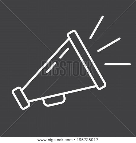 Promotion line icon, business and loudspeaker, vector graphics, a linear pattern on a black background, eps 10.