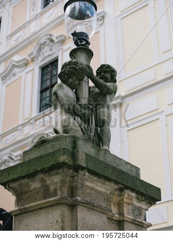 Histoirical center of the Dresden Old Town, statue of two Cupids