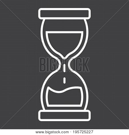 Hourglass line icon, business and deadline, vector graphics, a linear pattern on a black background, eps 10.