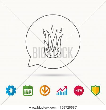 Fire icon. Hot flame sign. Calendar, Graph chart and Cogwheel signs. Download and Shield web icons. Vector