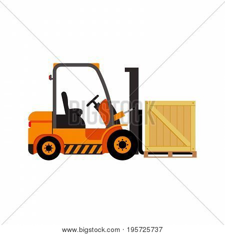 Vector forklift truck with wooden box - isolated flat stock illustration icon loader