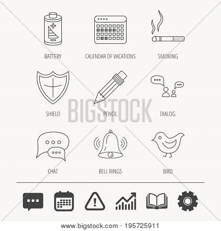 Battery, pencil and protection shield icons. Dialog chat, bell rings and vacation calendar linear signs. Bird, smoking allowed icons. Education book, Graph chart and Chat signs. Vector