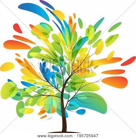 Multicolored tree splash on white background, colorful leaves