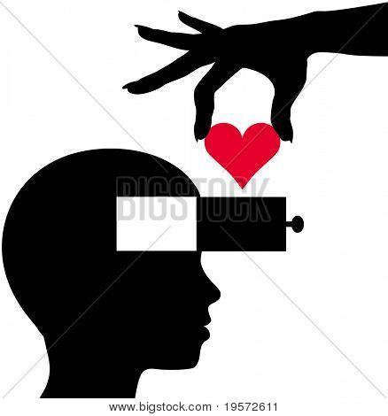 Hand drops a heart as romantic idea of love into mind of person
