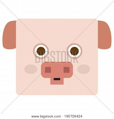 Isolated face of a pig, Vector illustration