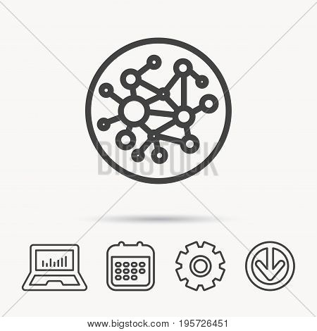 Global network icon. Social connections sign. Notebook, Calendar and Cogwheel signs. Download arrow web icon. Vector