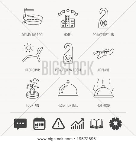 Hotel, swimming pool and beach deck chair icons. Reception bell, restaurant food and airplane linear signs. Do not disturb and clean room flat line icons. Education book, Graph chart and Chat signs