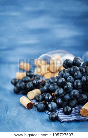 Branch Of Purple Grape And Wine Corks On Gray
