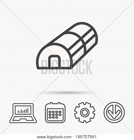 Greenhouse complex icon. Hothouse building sign. Warm house symbol. Notebook, Calendar and Cogwheel signs. Download arrow web icon. Vector