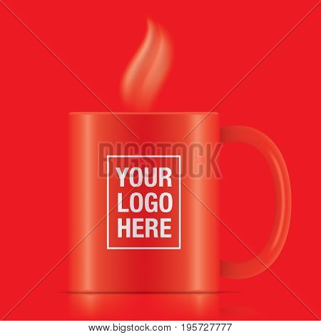 Red vector coffee mug template isolated on a background. Steam coming up from a red vector coffee mug.