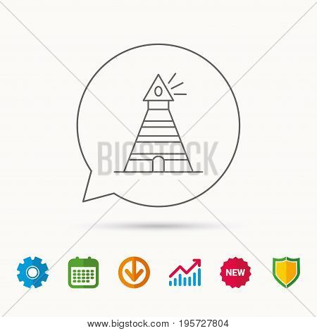 Lighthouse icon. Searchlight signal sign. Coast tower symbol. Calendar, Graph chart and Cogwheel signs. Download and Shield web icons. Vector