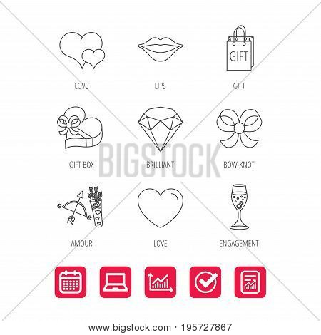 Love heart, brilliant and engagement ring icons. Bow, smile and gift box linear signs. Valentine amour arrows flat line icons. Report document, Graph chart and Calendar signs. Vector