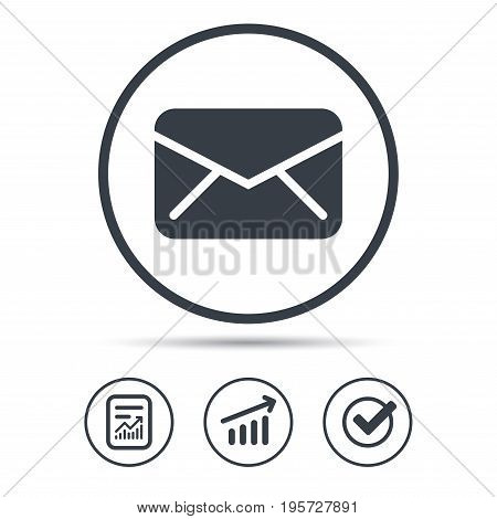 Envelope icon. Send email message sign. Internet mailing symbol. Report document, Graph chart and Check signs. Circle web buttons. Vector