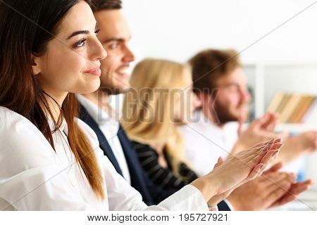 Group of people clap their arm in row during seminar portrait. Great news brief achievement win deal good job happy birthday employee introduce party positive welcome effective speech concept
