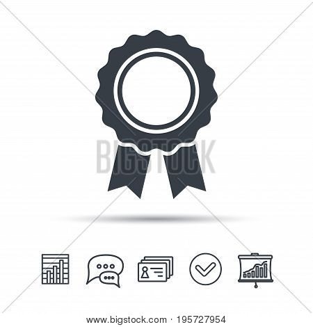 Medal icon. Winner award emblem symbol. Chat speech bubble, chart and presentation signs. Contacts and tick web icons. Vector