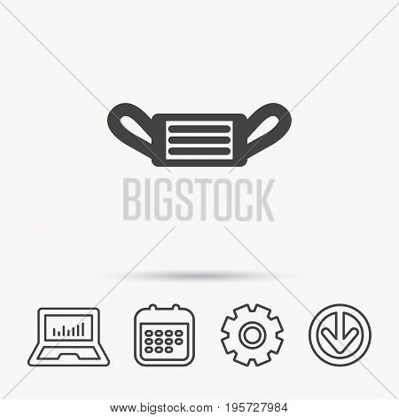 Medical mask icon. Epidemic sign. Illness protection symbol. Notebook, Calendar and Cogwheel signs. Download arrow web icon. Vector