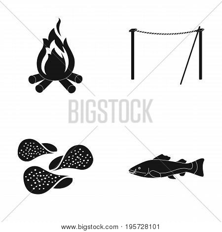 competitions, travel, win and other  icon in black style.sea, meat, fishing, icons in set collection