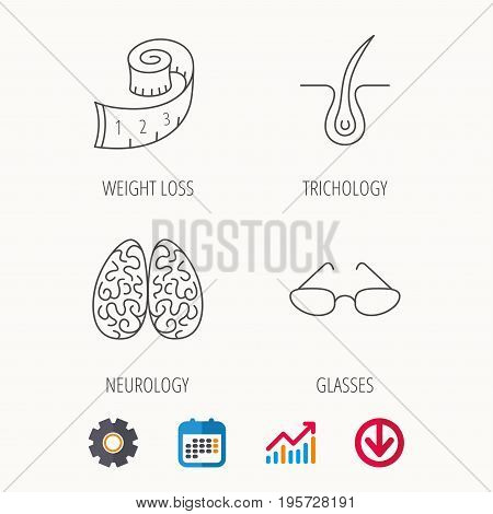 Glasses, neurology and trichology icons. Weight loss linear sign. Calendar, Graph chart and Cogwheel signs. Download colored web icon. Vector